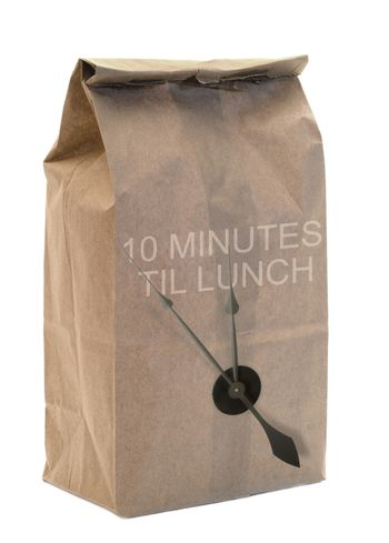 A brown paper bag isolated on a white background