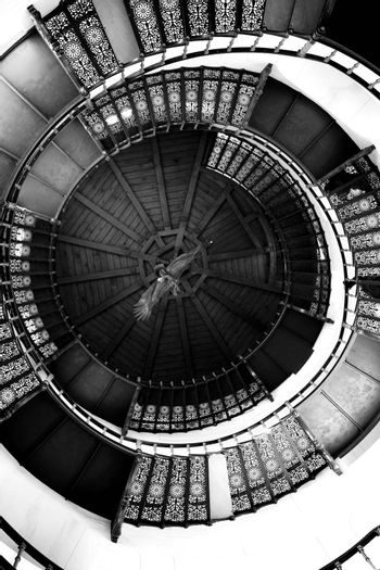 BINZ, MECKLENBURG WESTERN POMERANIA / GERMANY – APRIL 03: The spiral staircase of the middle tower in the hunting seat Granitz on April 03, 2013 in Binz. With more than 250,000 visitors in the year it is the most-visited castle in Mecklenburg-West Pomerania.