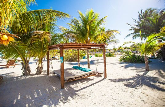 Beach beds and hammocks among palm trees at perfect tropical coast