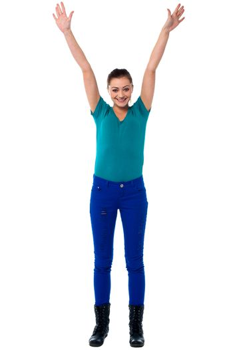 Jubilant young woman in trendy attire