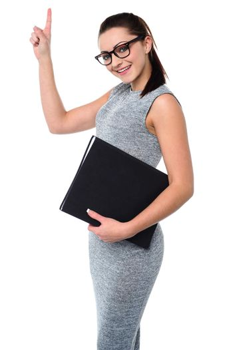 Pretty employee raising her arm up
