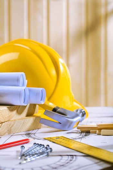 carpentry tools on blueprint