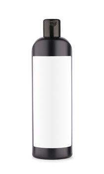 black bottle of shampoo