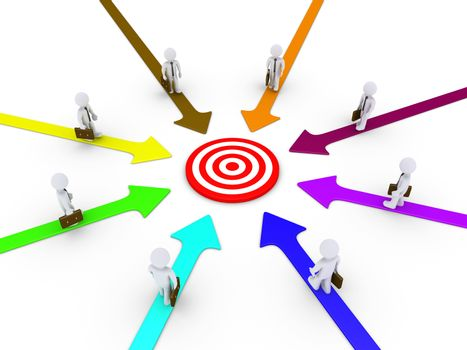 Different paths lead the businessmen to goal