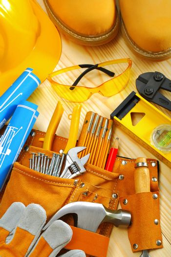 composition of carpentry tools on wooden boards