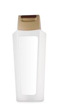 white botlle of shampoo isolated