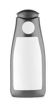 black isolated bottle of shampoo