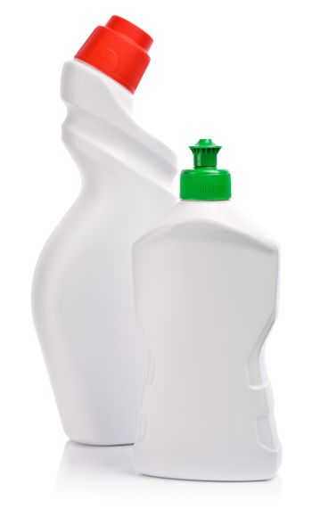 white bottles with green and red lid