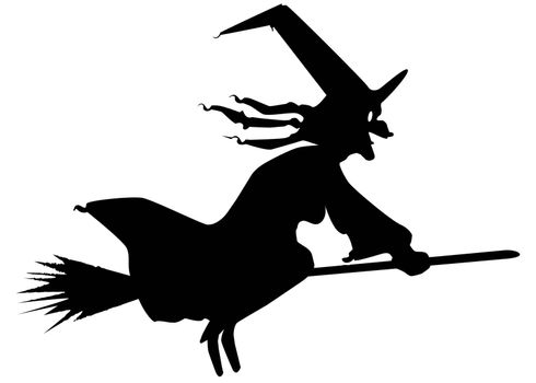 The silhouette of a flying witch on her broomstick.