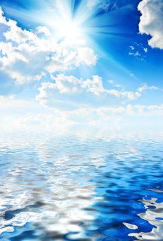 beautyful blue heaven with sun and sea