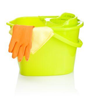 bucket rag and glove