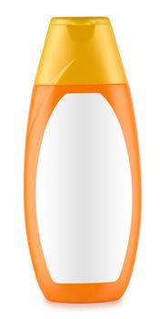 orange bottle of shampoo isolated