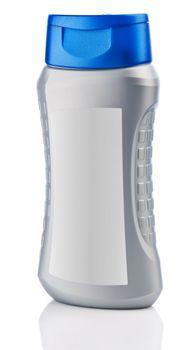gray bottle of shampoo