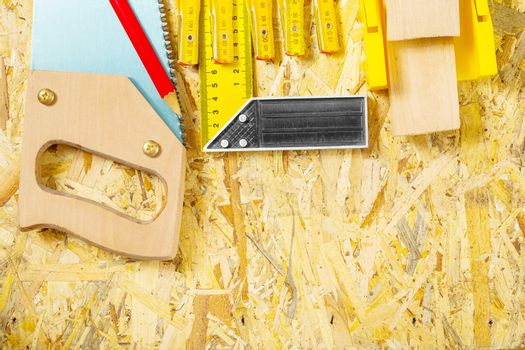 carpentry tool set on plywood board
