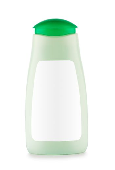 green bottle of shampoo isolated
