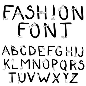 Fashion font. Font with fashion accessories