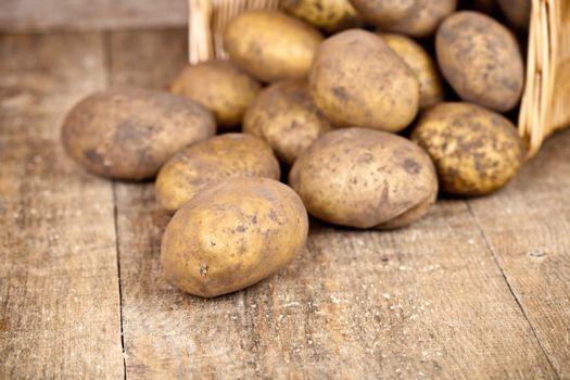 basket with fresh potatoes