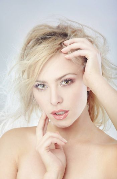 Beautiful lady with perfect makeup. Studio photo
