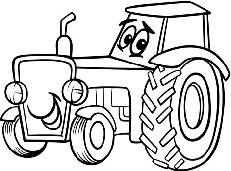 Black and White Cartoon Illustration of Funny Farm Tractor Vehicle Comic Mascot Character for Children to Coloring Book
