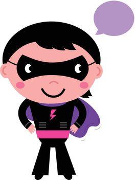 Young Super hero boy in purple costume. Vector