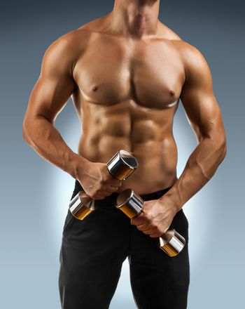 a muscular male torso with dumbbells