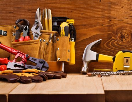 set of working tools on board backgroumd