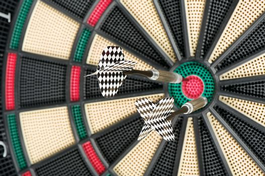 dartboard and two arrows