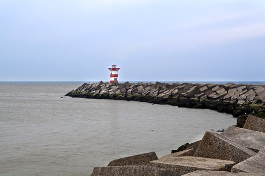 red lighthouse on North sea