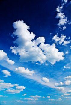 beautiful blue sky with cumulus clouds