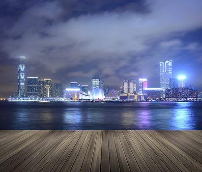 Victoria harbor in the night