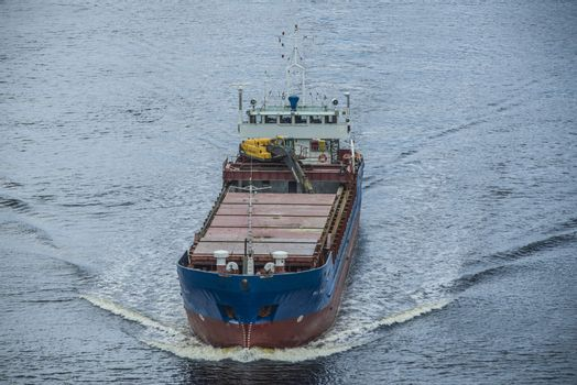 Cargo vessels Bal Bulk going to the port of Halden, Norway in order to unload gravel. The picture is shot from Svinesund Bridge