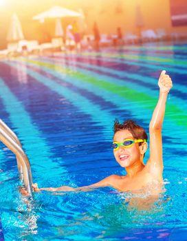 Happy winner in the pool