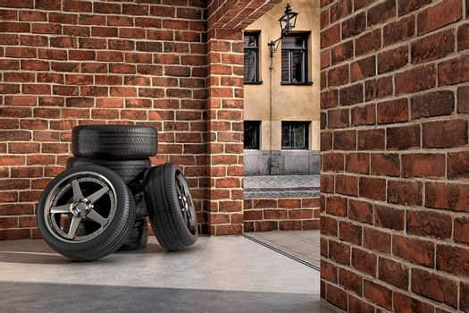 Tires on the garage