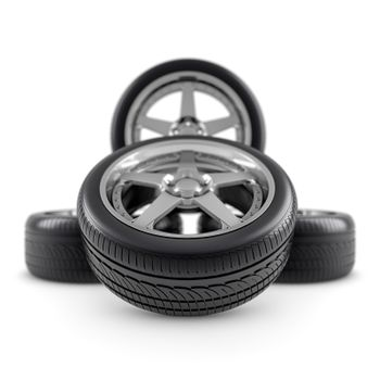 Wheels composition on white