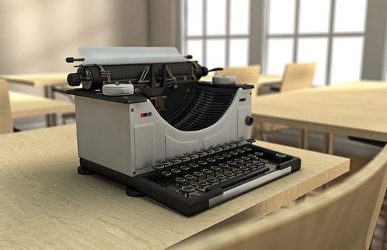 Typewriter on a desk