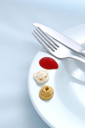 Cutlery and sauce background