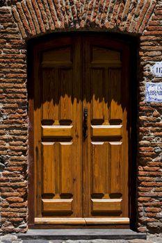 old door  in colonia del sacramento