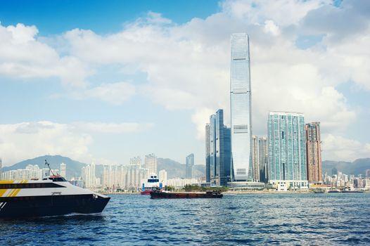 View of Kowloon island from Hong Kong island. Hong Kong S.A.R.