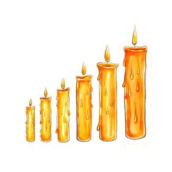 sketch step candle illustration