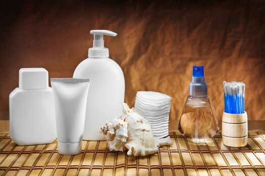 skincare accessories on mat