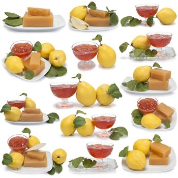 Set of images of quince desserts isolated over a white background