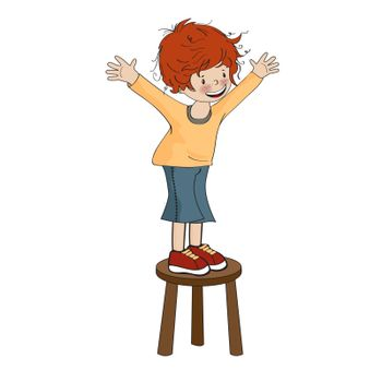funny little boy perched on chair