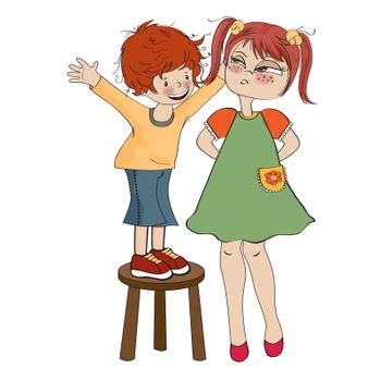 small boy perched on a chair with funny girl