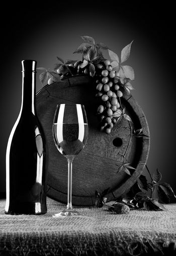 grayscale wine composition