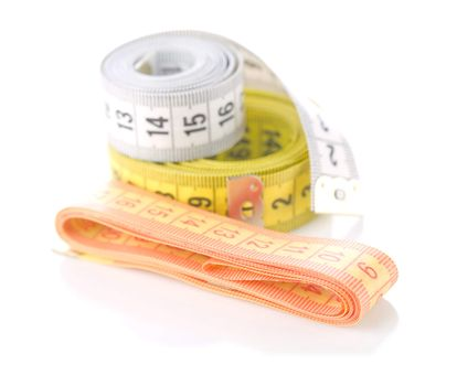 measuring tapes isolated