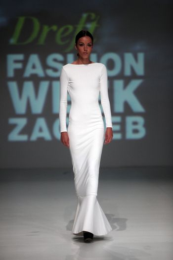 """ZAGREB, CROATIA - May 11: Fashion model wears clothes made by Henrietta Ludgate on """"ZAGREB FASHION WEEK"""" show on May 11, 2013 in Zagreb, Croatia."""
