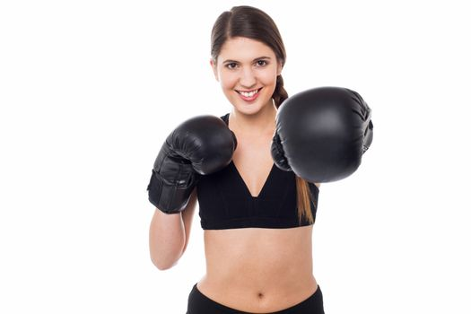 Female boxer ready to punch you