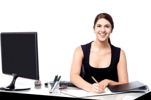 Corporate lady preparing documents
