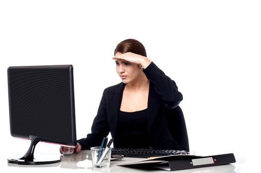 Female secretary focusing on work