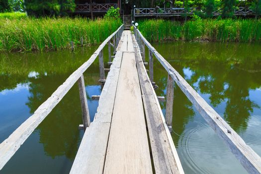 Wooden bridge over the canal